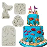 Mity rain Marine Theme Cake Fondant Mold - Seaweed Fish Seashell Coral Mermaid Tail Silicone Mold for Mermaid Theme Cake Decoration Chocolate Candy Polymer Clay Cupcake Cookie Jelly Sugar Craft