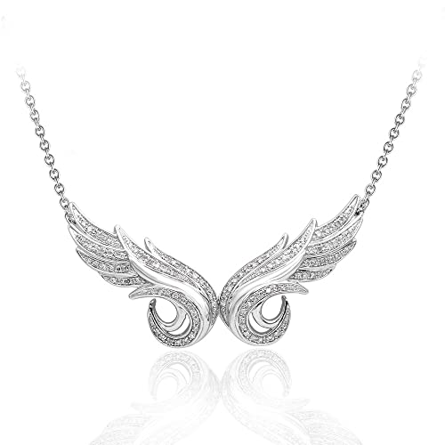 925-Sterling-Silver-Double-Angel-Feather-Diamond-Pendant-Necklace-GH-I1-I2-0-33-carat-