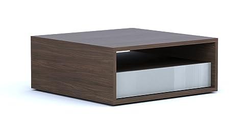 Composad interni tavolino, legno, noce/grigio lucido, 77x 77x 31cm
