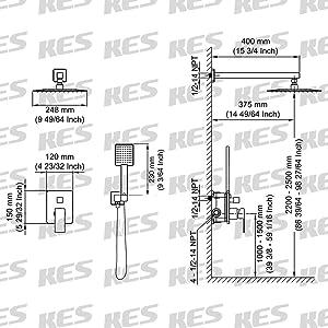 KES Pressure Balancing Rain Shower System Rough-in Valve Trim Kit Shower Faucet Complete Set Square Matt Black, XB6230-BK (Color: Matt Black, Tamaño: Square 10 overhead shower+hand shower)
