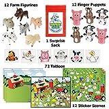 Farm Party Favor Pack - 96pc (12 Farm Sticker Scenes, 12 Farm Animal Figurines, & 72 Barnyard Tattoo