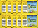 2014 FIFA World Cup Brazil Panini Stickers Lot of TEN(10) Factory Sealed Sticker Packs with 70 Brand New MINT Stickers!