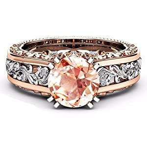 dfae64c8b Lethez Crystal Wedding Ring For Women, Vintage Diamond Rhinestone Floral Ring  Engagement Band Jewelry (Coffee, ...