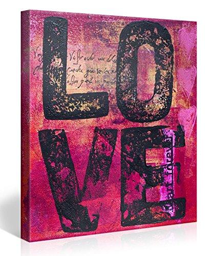 Gallery of Innovative Art - One Love 80x80cm - Modern Art Leinwanddruck, Wandbilder, Kunstdrucke als Leinwandbild - Neu und Aufgespannt auf Keilrahmen - XXL Bilder Dekoration für Zuhause