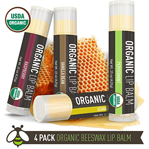 Lip Balm - 4 Pack - La Lune Naturals USDA Certified Organic Lip Balm, Natural Beeswax Lip Balm - Vanilla Bean, Raspberry, Asian Pear, Peppermint - MADE IN THE USA - Best Lip Balm for Kids & Babies (Natural Balm compare prices)