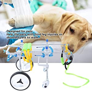 Fdit Adjustable Pet Dog Wheelchair Cart Disabled Dog Assisted Walk Car Pet Hind Leg Exercise Car for Hind Legs Rehabilitation Dog Walk (4 Wheel-M) (Tamaño: 4 Wheel-M)