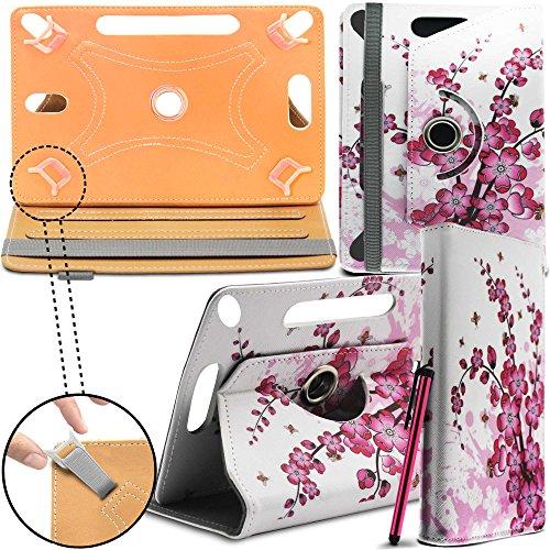 Prestigio MultiPad 8.0 Pro Duo Tablet Neues Design Universelle um 360 Grad drehbare PU-Leder Designer bunte Hülle mit Standfunktion - Cover - Tasche - Pink Blossom / Rosa Blüten - Von Gadget Giant®