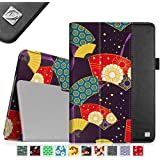 Fintie Apple iPad Air Folio Case - Slim Fit PU Leather Smart Cover with Auto Sleep / Wake Feature for iPad Air (iPad 5th Generation) 2013 Model, Floral Fan Purple