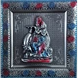 Laps Of Luxury - Radha Krishna God Idol Silver And Blue Color Wall Hanging Photo Frame(10x10 Inches)
