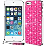 MobileConnect4U® Hot Pink Diamond Bling Glitter Wallet For iPhone 5/5S - PU Leather Wallet Stand Cover Includes Screen Protector & Stylus