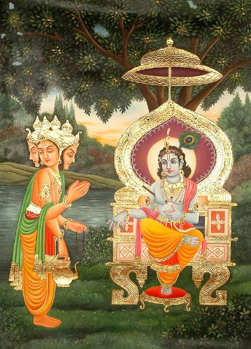 apologetic-brahma-seeks-pardon-from-krishna-from-the-shrimad-bhagavata-purana-oil-on-canvas-with