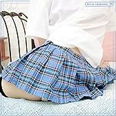 超ミニチェックスカート単品 水色×ピンク×黄 M