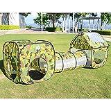 EocuSun子供用テント セット ボールプール ボールピット ボールハウス トンネル バスケットプール 迷彩