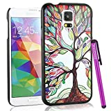 BeeShine Retail Package Colorful Big Tree Pattern Galaxy S5 Snap-on Hard Plastic Skin Back Case Cover W/ LCD Film Screen Protector & Touch Stylus Pen for Samsung Galaxy S5 / SV /G900