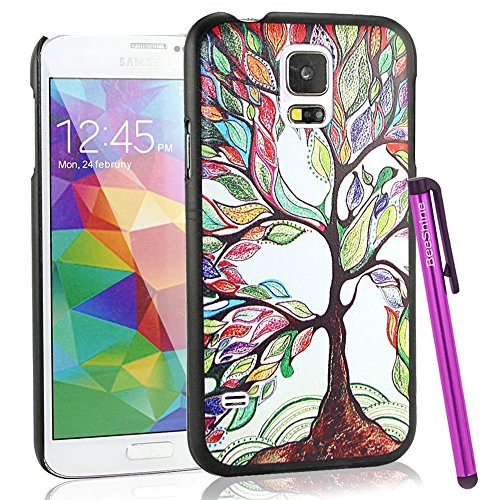 Beeshine Retail Package Snap-On Hard Plastic Skin Back Case Cover W/ Lcd Film Screen Protector & Touch Stylus Pen For Samsung Galaxy S5 / Sv /G900 (Colorful Big Tree Pattern)