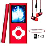 MP3 Player / MP4 Player, Hotechs MP3 Music Player with 16GB Memory SD card Slim Classic Digital LCD 1.82'' Screen MINI USB Port with FM Radio, Voice record (16GB-RED-LX1.)