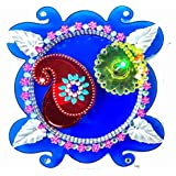 Zest Blessed -DivyaKala Pooja Thali-Plate, Kumkum Box, LED Diya (A) (20cm Diameter, Acrylic,3pc Set)