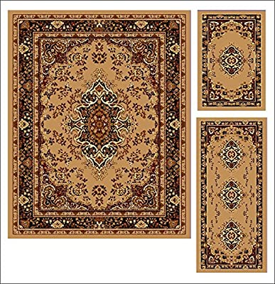 Abrahami Sultan 3-piece Area Rug Set Beige Abuson -Includes Area Rug -Runner - Scatter Rug 3911