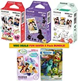 Fujifilm Instax Mini Film 5 Pack DISNEY BUNDLE ★ Mickey ★ Pooh ★ Alice ★ Monster ★ Fairies ★ 10 sheets X 5 Packs = 50 Sheets! BONUS-FREE Wiki Deals Colorful Micro Fiber Cloth!