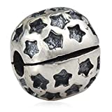 Star Clips Charm 925 Sterling Silver Lock Stopper Beads fit for DIY Charms Bracelets (Star Clips) (Color: Star Clips)