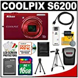 Nikon Coolpix S6200 Digital Camera (Red) with 16GB Card + Battery + Tripod + Case + HDMI Cable + Accessory Kit