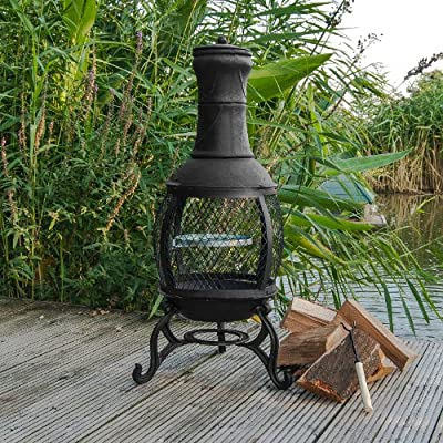Firefox Chimineas - Mercury 100 Cast Iron Chiminea - Black - 100cm 39 X 35cm 14 H X Dia by Firefox Chimineas