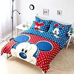 CASA Children 100% Cotton Mickey Series Mickey Duvet cover & Pillow cases & Sheet,Duvet cover set,4 Pieces,Queen