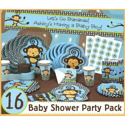 Monkey boy 16 baby shower party pack toys games for Baby shower decoration packs
