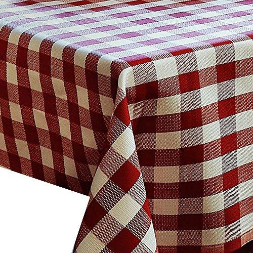 100% Baumwolle Meterware Damast Rot Weiss Kariert Breite 170 cm Länge wählbar Tischdecke - Breite 170 cm ECKIG 170 x 50 bzw. 50x170 cm