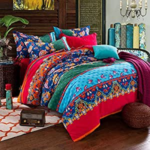 fadfay colorful bohemian duvet covers queen king size exotic boho bedding kitchen. Black Bedroom Furniture Sets. Home Design Ideas
