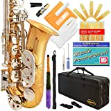 360-LN - GOLD Body/Silver Keys Eb E Flat Alto Saxophone Sax Lazarro+11 Reeds,Music Pocketbook,Case,Care Kit - 24 Colors with Silver or Gold Keys