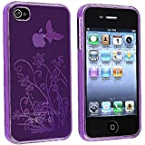 eForCity Purple Flower Butterfly TPU Rubber Soft Hard Case Cover for iPhone? 4 4S 4G 4GSen