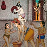Krishna Stealing Butter With His Friends - Reprint On Card Paper - Unframed