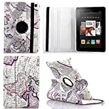 HPYHero® NEW STYLE Fire HD 7 Case - Luxury 360 Rotating Magnetic Smart PU Leather Case Cover for Amazon Kindle Fire HD 7 2014 with Wake & Sleep Function (will only fit Amazon Kindle Amazon Kindle Fire HD 7 4th Generation 2014 model) (map pattern purple)