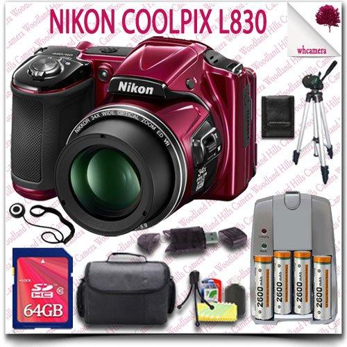 "Nikon Coolpix L830 Cmos Digital Camera (Red) + Aa Batteries And Charger + 64Gb Sdhc Class 10 Card + Slr Gadget Bag + 50"" Tripod 11Pc Nikon Saver Bundle"