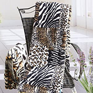Animal Patchwork Micro Mink Throw Blanket