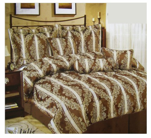 Luxurious 7pcs Bedding Set - Queen Size Bed In A Bag (Chocolate)