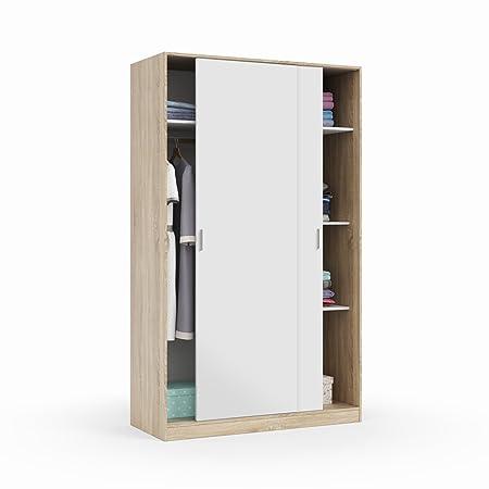 Habitdesign - Armario dos puertas correderas, armario ropero tres estantes, medidas: 200 x 120 x 50 cm (Blanco Artik y Roble Canadian)