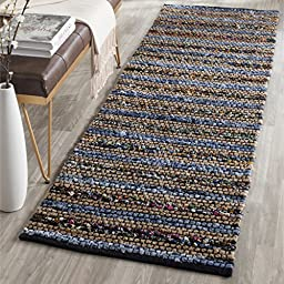 Safavieh Cape Cod Collection CAP361A Hand Woven Blue and Multi Cotton Runner, 2 feet 3 inches by 8 feet (2\'3\
