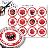 #6: 12 x PRE-CUT Comic Relief 'Red Nose Day' Noses - Edible Cake Toppers / Decorations