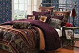 Hallmart Collectibles 65370 9-Piece Petra Comforter Set, Queen, Plum
