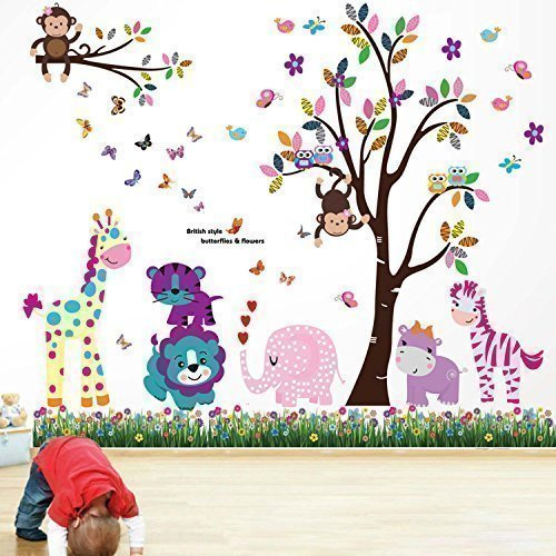 walplus-wall-stickers-happy-animals-tree-butterfly-grass-removable-self-adhesive-mural-art-decals-vi