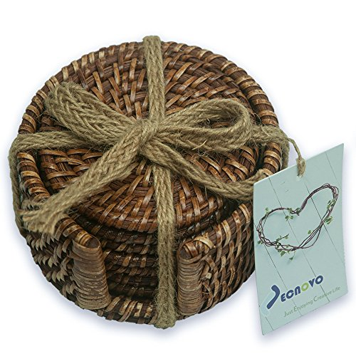 Review Of Jecnovo Handmade Rattan Coasters(3.94 Inch) with Holder Set of 7 – Honey Brown