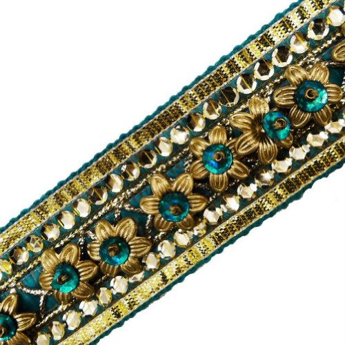 Turquoise Blue Beaded Ribbon Trim Sewing Women Border Lace Craft India 3 Yd