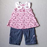 Baby Girls Cute Summer Clothes - 0-3 months - Beautiful Pink VINTAGE FLORAL Sleeveless Top and Blue Denim Trousers Jeans Outfit Set