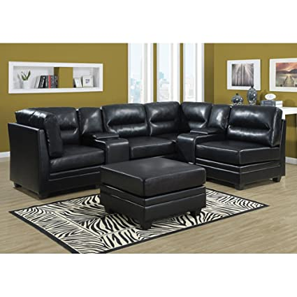 SOFA -BONDED LEATHER CORNER UNIT Black