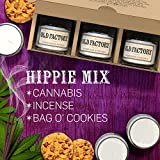 Scented Candles - Hippie Mix - Set of 3: Cannabis, Incense, and Bag O Cookies - 3 x 4-Ounce Soy Candles