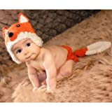 Tueenhuge Baby Photo Props Baby Girls Boys Knit Baby Outfits Costume Hat and Pants for 0-6 Months Baby(Fox) (Color: Fox)