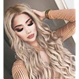 Blonde Wig Long Wavy Synthetic Lace Front Wigs for Women Dark Root Ombre Ash Blonde Natural Hair Replacement Wigs 24 inch Free Part (Color: blonde, Tamaño: Wave)