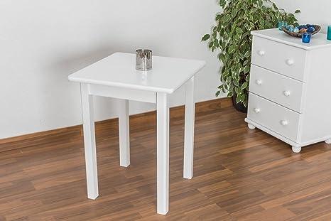 Kuchentisch 60x60 cm Kiefer massiv, Farbe: Weiß